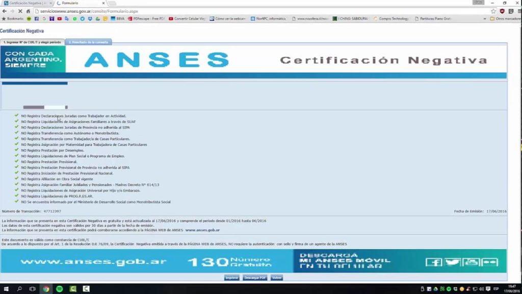 Descargar Certificación Negativa desde Anses